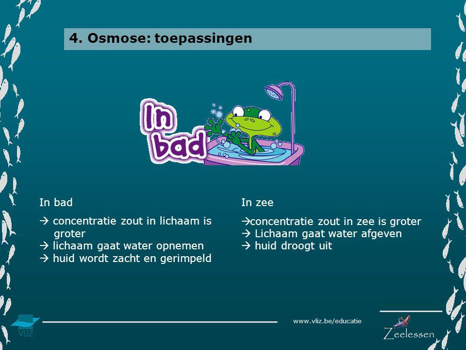 www.vliz.be/educatie 4. Osmose: toepassingen In bad  concentratie zout in lichaam is groter  lichaam gaat water opnemen  huid wordt zacht en gerimp