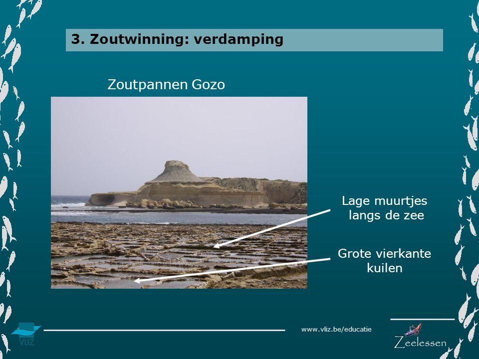 www.vliz.be/educatie 3. Zoutwinning: verdamping Zoutpannen Gozo Grote vierkante kuilen Lage muurtjes langs de zee