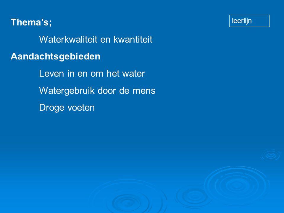Thema's; Waterkwaliteit en kwantiteit Aandachtsgebieden Leven in en om het water Watergebruik door de mens Droge voeten leerlijn