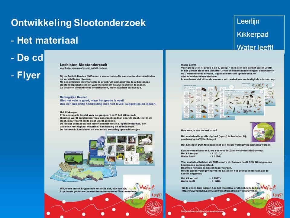 Ontwikkeling Slootonderzoek - Het materiaal - De cd - Flyer Leerlijn Kikkerpad Water leeft!
