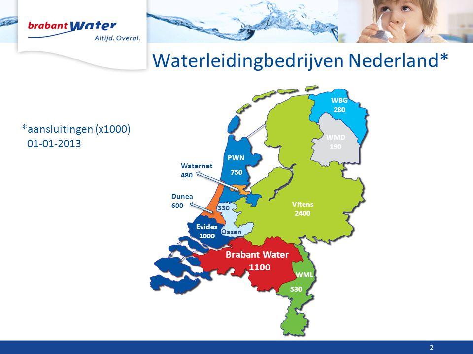 Waterleidingbedrijven Nederland* *aansluitingen (x1000) 01-01-2013 2 Brabant Water 1100 Evides 1000 Vitens 2400 Dunea 600 330 Oasen Waternet 480 WML 5