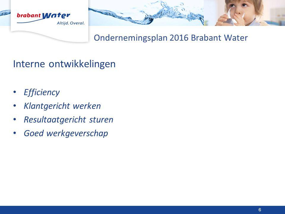 Ondernemingsplan 2016 Brabant Water Interne ontwikkelingen Efficiency Klantgericht werken Resultaatgericht sturen Goed werkgeverschap 6
