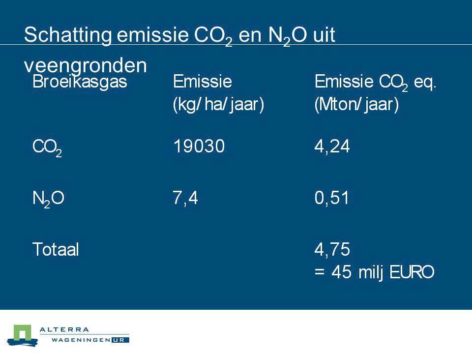 Schatting emissie CO 2 en N 2 O uit veengronden