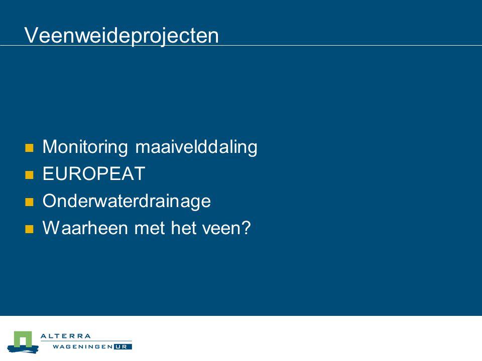 Veenweideprojecten Monitoring maaivelddaling EUROPEAT Onderwaterdrainage Waarheen met het veen?