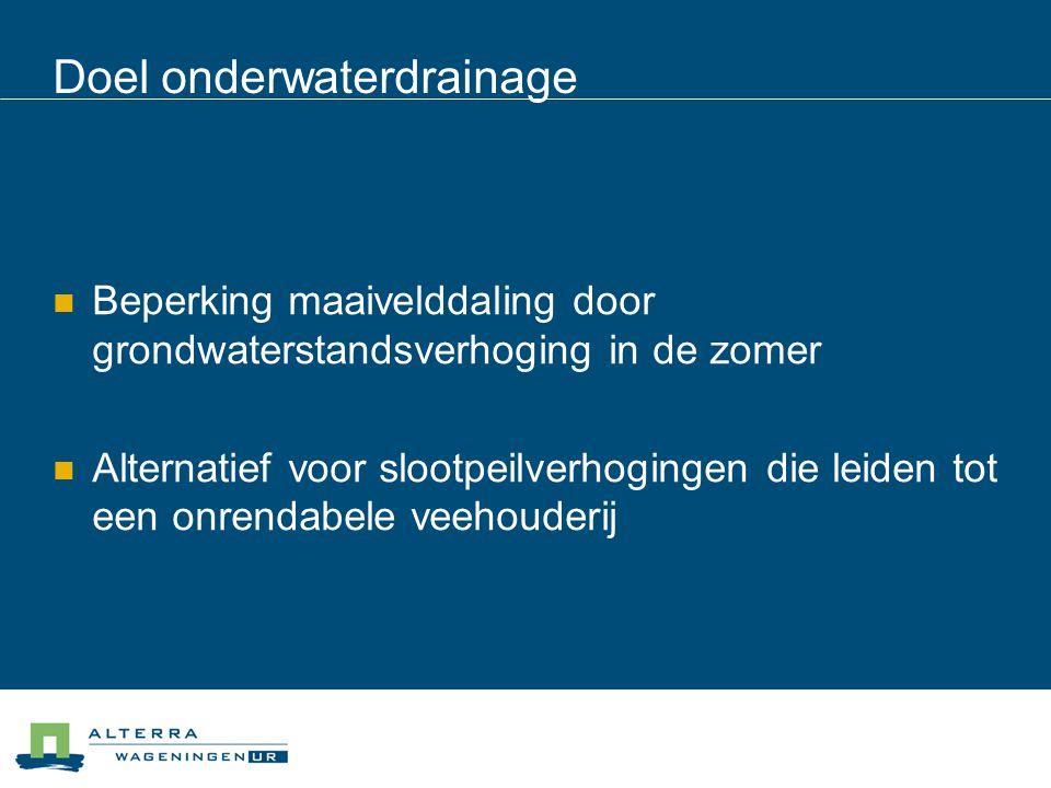 Doel onderwaterdrainage Beperking maaivelddaling door grondwaterstandsverhoging in de zomer Alternatief voor slootpeilverhogingen die leiden tot een o
