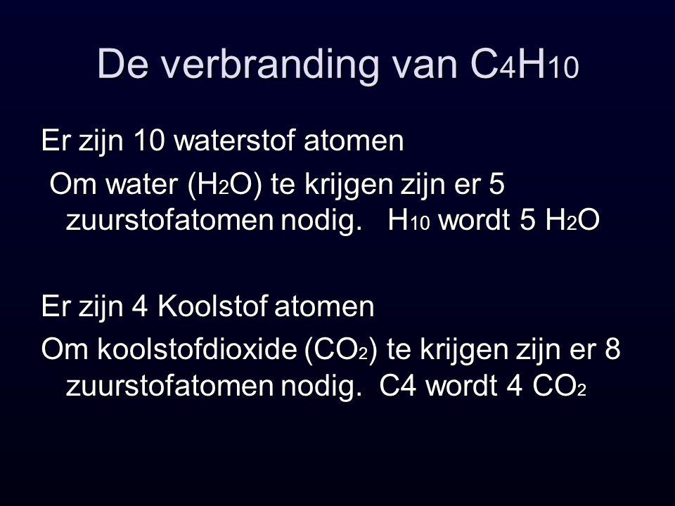 De verbranding van C 4 H 10 Er zijn 10 waterstof atomen Om water (H 2 O) te krijgen zijn er 5 zuurstofatomen nodig.