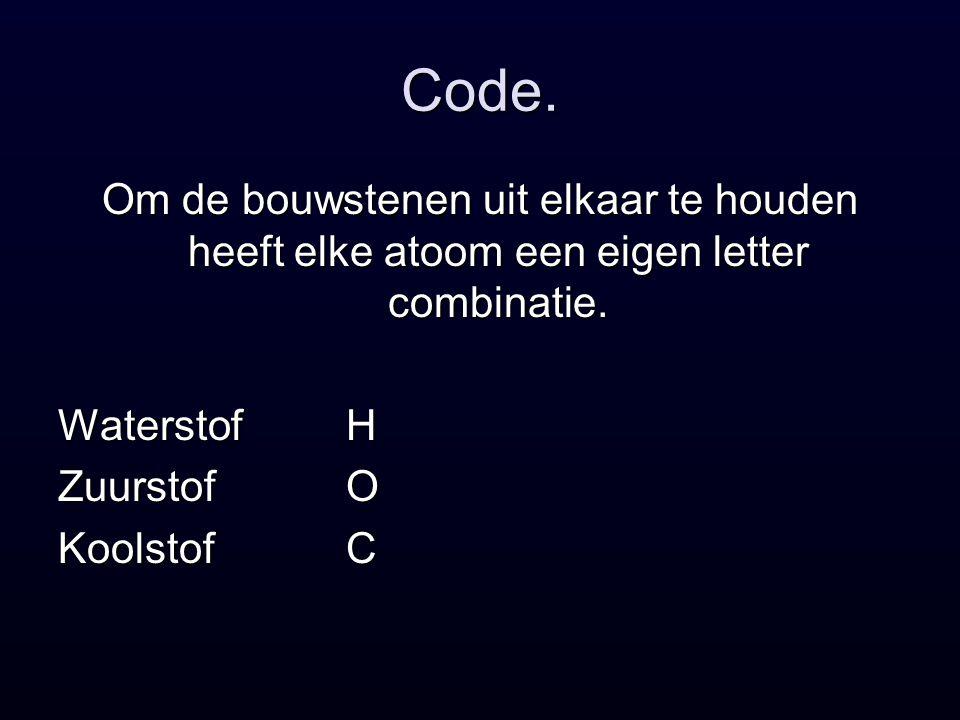 Code.Om de bouwstenen uit elkaar te houden heeft elke atoom een eigen letter combinatie.