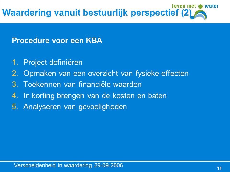 Verscheidenheid in waardering 29-09-2006 11 Waardering vanuit bestuurlijk perspectief (2) Procedure voor een KBA 1.Project definiëren 2.Opmaken van een overzicht van fysieke effecten 3.Toekennen van financiële waarden 4.In korting brengen van de kosten en baten 5.Analyseren van gevoeligheden