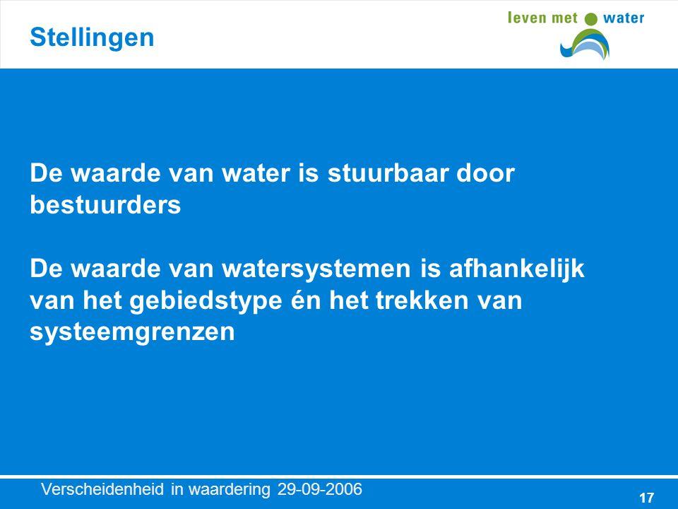 Verscheidenheid in waardering 29-09-2006 17 Stellingen De waarde van water is stuurbaar door bestuurders De waarde van watersystemen is afhankelijk van het gebiedstype én het trekken van systeemgrenzen