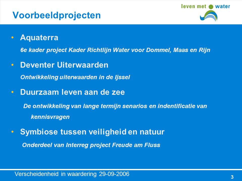 Verscheidenheid in waardering 29-09-2006 4 Voorbeeldprojecten (2) Routeplanner 2010-2050 Een brugproject voor het onderzoek van de klimaatrobuustheid van Nederland B.V.