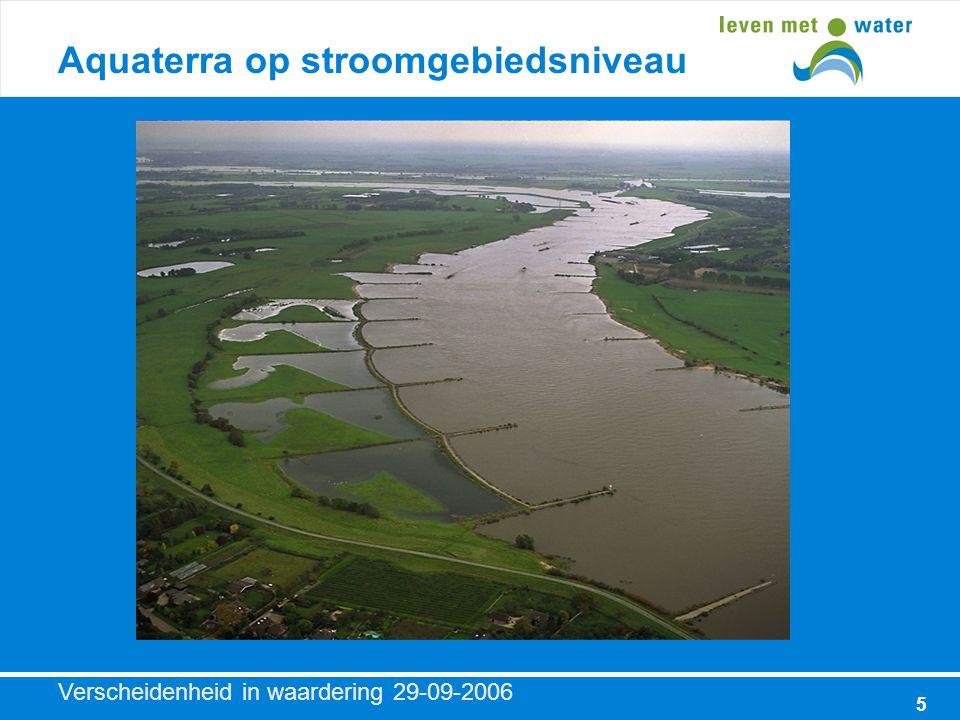 Verscheidenheid in waardering 29-09-2006 5 Aquaterra op stroomgebiedsniveau