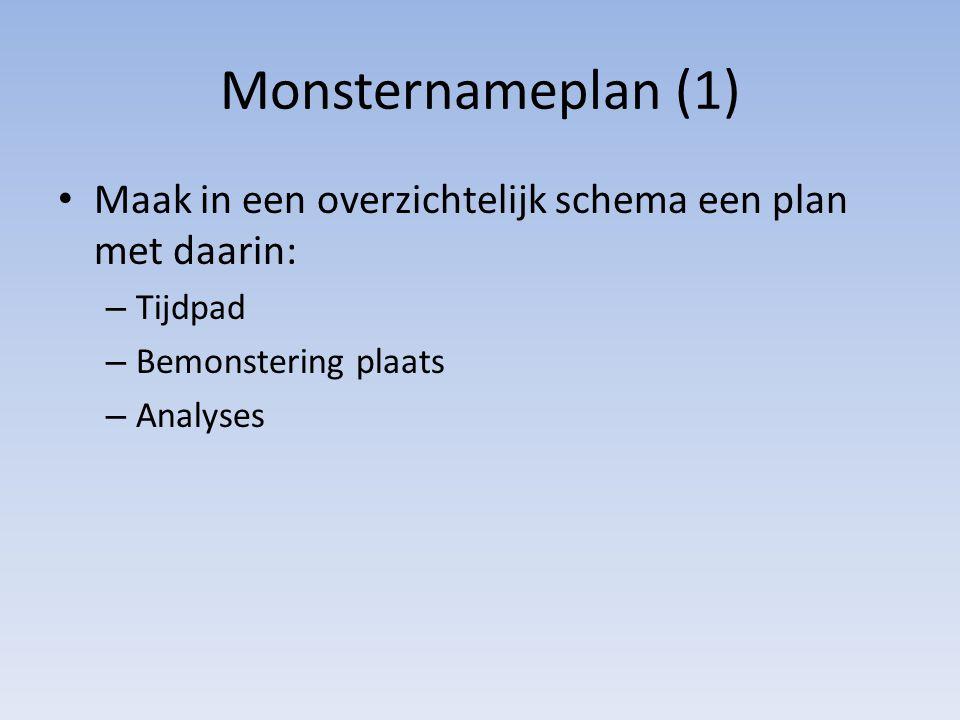 Monsternameplan (1) Maak in een overzichtelijk schema een plan met daarin: – Tijdpad – Bemonstering plaats – Analyses