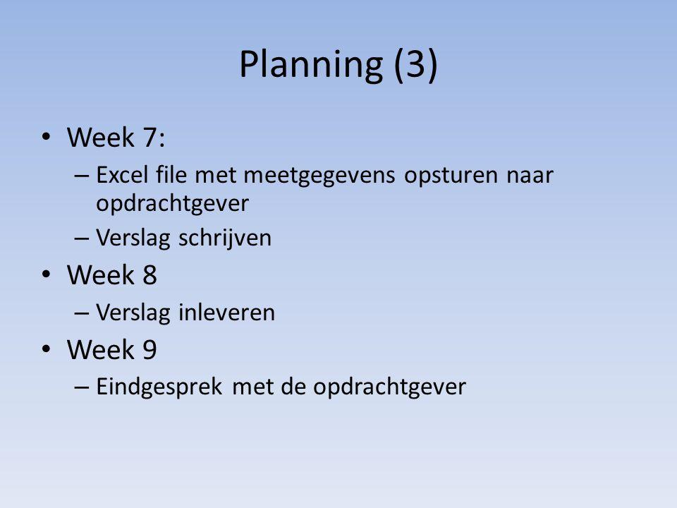Planning (3) Week 7: – Excel file met meetgegevens opsturen naar opdrachtgever – Verslag schrijven Week 8 – Verslag inleveren Week 9 – Eindgesprek met de opdrachtgever