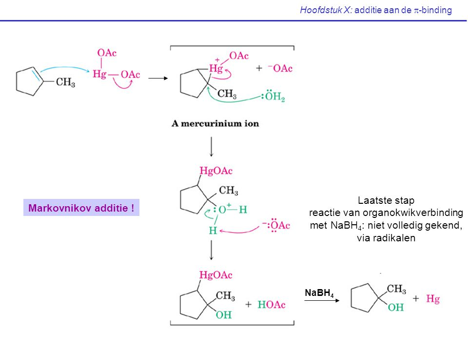Hoofdstuk X: additie aan de  -binding NaBH 4 Laatste stap reactie van organokwikverbinding met NaBH 4 : niet volledig gekend, via radikalen Markovnik