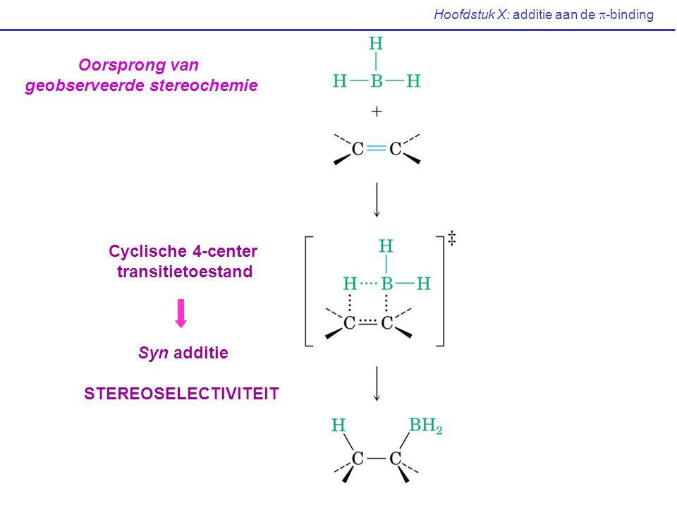 Hoofdstuk X: additie aan de  -binding Oorsprong van geobserveerde stereochemie Cyclische 4-center transitietoestand Syn additie STEREOSELECTIVITEIT