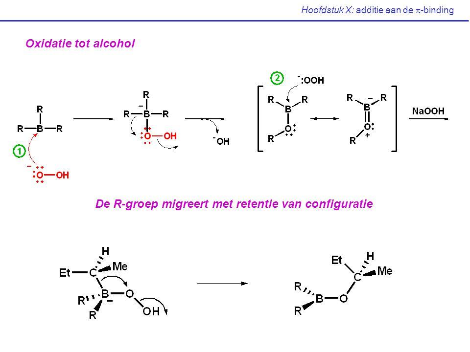 Hoofdstuk X: additie aan de  -binding Oxidatie tot alcohol De R-groep migreert met retentie van configuratie