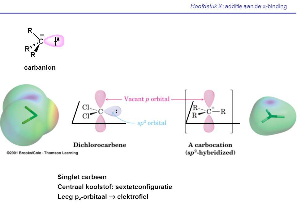 Hoofdstuk X: additie aan de  -binding carbanion Singlet carbeen Centraal koolstof: sextetconfiguratie Leeg p z -orbitaal  elektrofiel