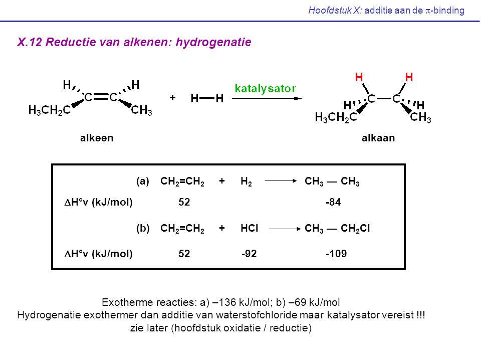 Hoofdstuk X: additie aan de  -binding X.12 Reductie van alkenen: hydrogenatie alkeenalkaan (a)CH 2 =CH 2 + H 2 CH 3 — CH 3  H°v (kJ/mol) 52 -84 (b)C