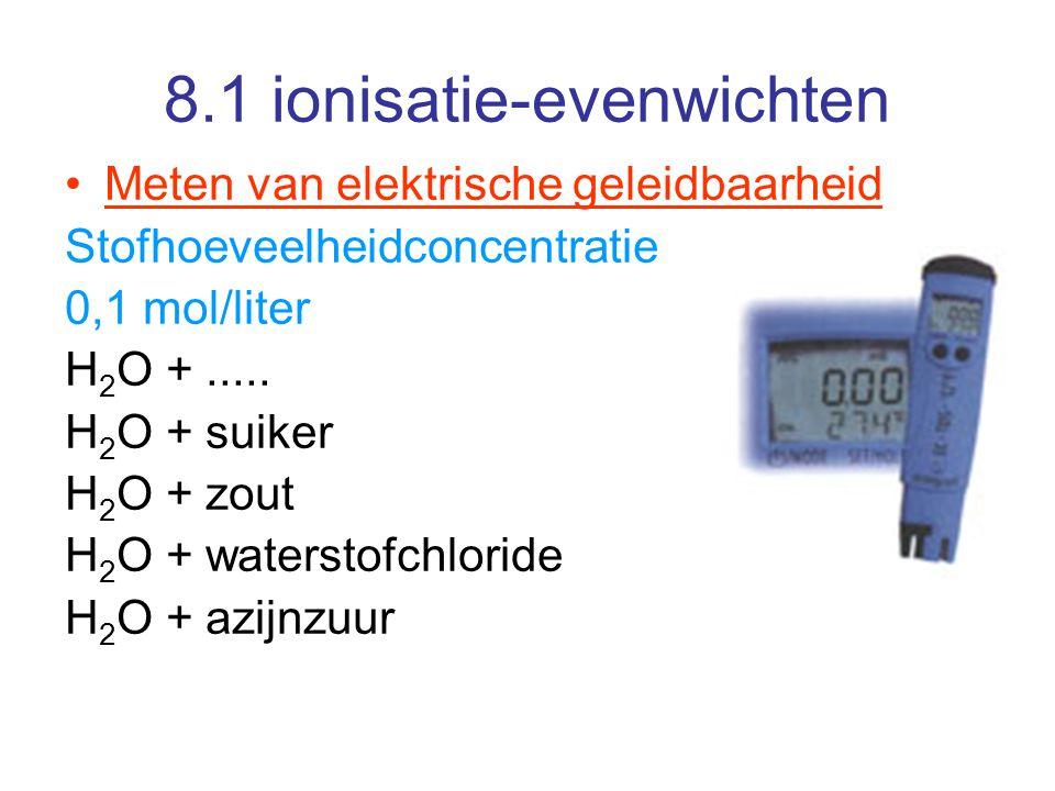 8.3 Sterkte van zuren en basen Het ionisatie-evenwicht van water p.239 Het ionenproduct van water K W Zuiver water is slecht elektrisch geleidend dus evenwicht ligt naar links H 2 O + H 2 O  H 3 O + + OH - De evenwichtsconcentratie is bijna gelijk aan de beginconcentratie maw een constante bij 25°C