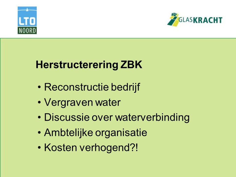 Herstructerering ZBK Reconstructie bedrijf Vergraven water Discussie over waterverbinding Ambtelijke organisatie Kosten verhogend !
