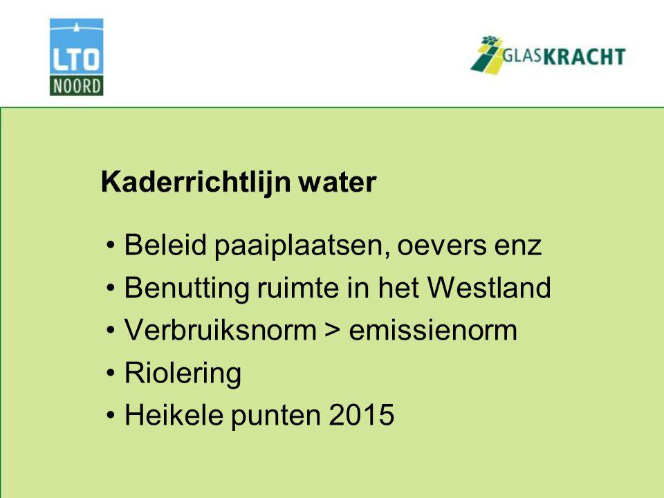 Kaderrichtlijn water Beleid paaiplaatsen, oevers enz Benutting ruimte in het Westland Verbruiksnorm > emissienorm Riolering Heikele punten 2015