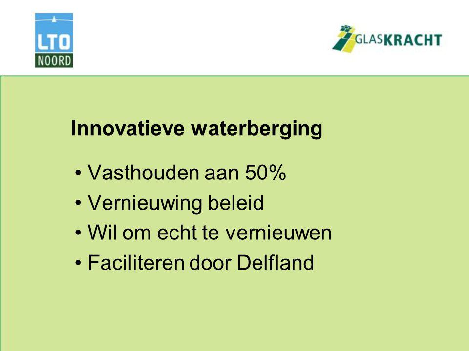 Innovatieve waterberging Vasthouden aan 50% Vernieuwing beleid Wil om echt te vernieuwen Faciliteren door Delfland