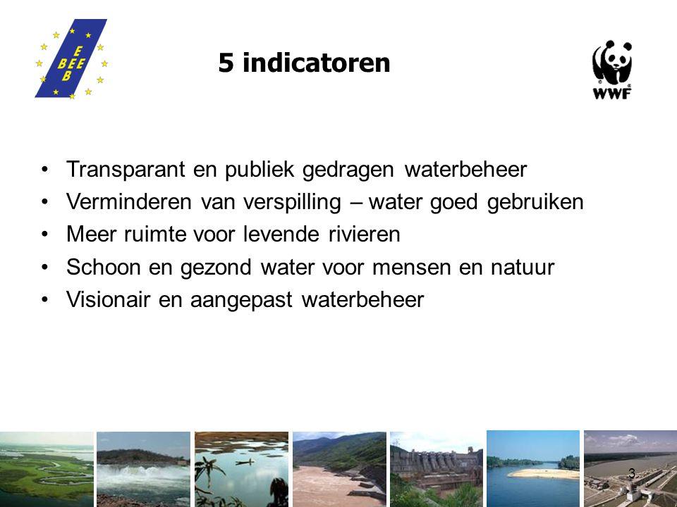 3 5 indicatoren Transparant en publiek gedragen waterbeheer Verminderen van verspilling – water goed gebruiken Meer ruimte voor levende rivieren Schoon en gezond water voor mensen en natuur Visionair en aangepast waterbeheer