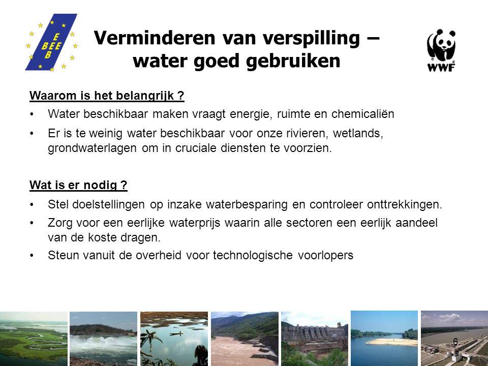 6 Verminderen van verspilling – water goed gebruiken Waarom is het belangrijk .