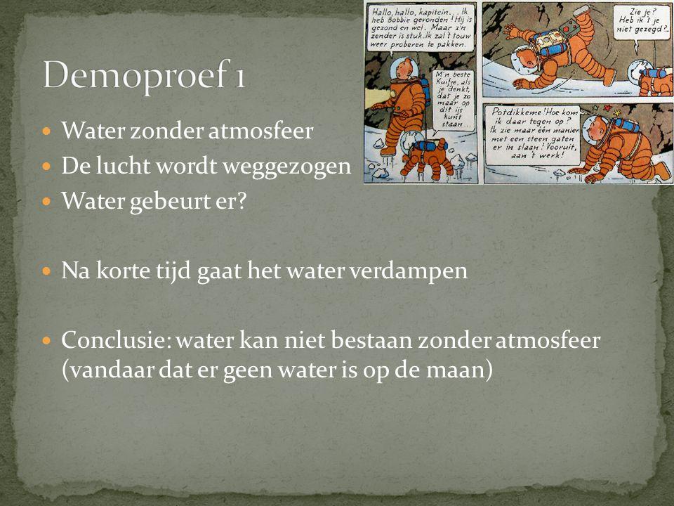 Water zonder atmosfeer De lucht wordt weggezogen Water gebeurt er.