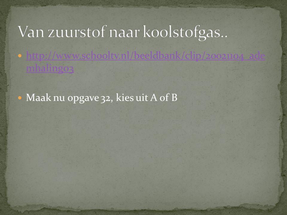 http://www.schooltv.nl/beeldbank/clip/20021104_ade mhaling03 http://www.schooltv.nl/beeldbank/clip/20021104_ade mhaling03 Maak nu opgave 32, kies uit A of B