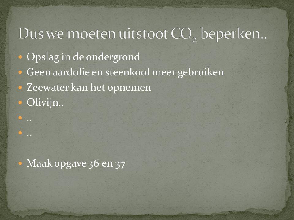 Opslag in de ondergrond Geen aardolie en steenkool meer gebruiken Zeewater kan het opnemen Olivijn....