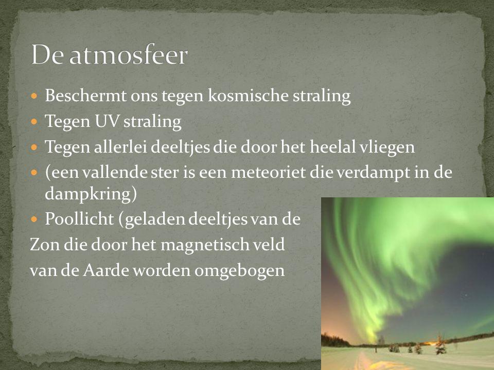 Beschermt ons tegen kosmische straling Tegen UV straling Tegen allerlei deeltjes die door het heelal vliegen (een vallende ster is een meteoriet die verdampt in de dampkring) Poollicht (geladen deeltjes van de Zon die door het magnetisch veld van de Aarde worden omgebogen