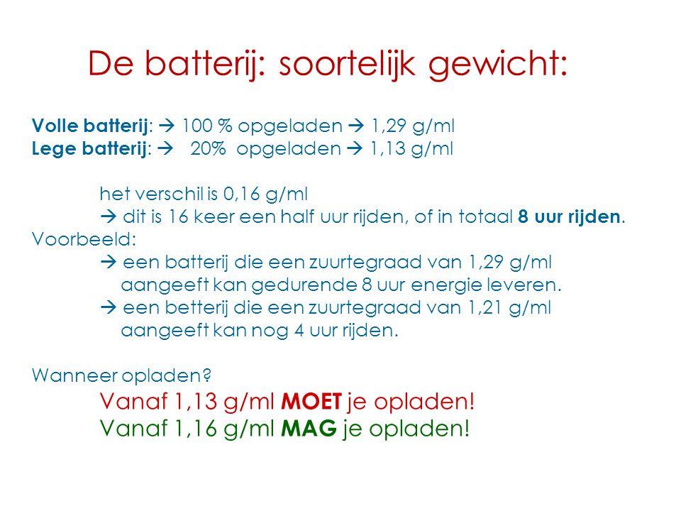 De batterij: soortelijk gewicht: Volle batterij :  100 % opgeladen  1,29 g/ml Lege batterij :  20% opgeladen  1,13 g/ml het verschil is 0,16 g/ml