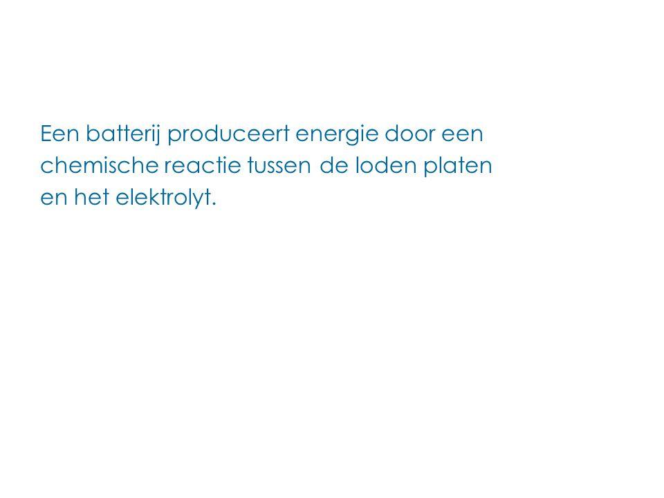 Een batterij produceert energie door een chemische reactie tussen de loden platen en het elektrolyt.