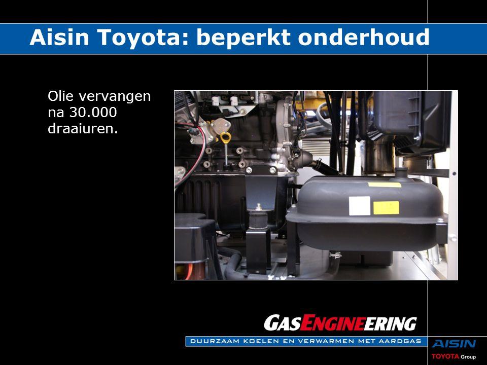 Oliefilter na 10.000 draaiuren vervangen. Aisin Toyota: beperkt onderhoud