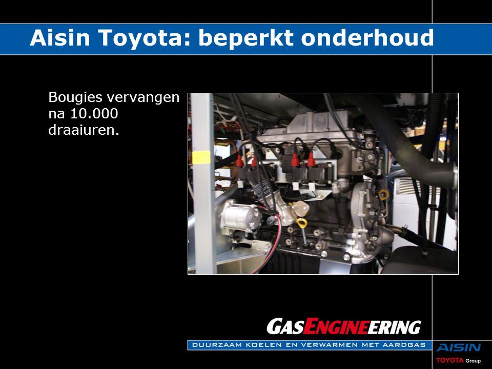Bougies vervangen na 10.000 draaiuren. Aisin Toyota: beperkt onderhoud