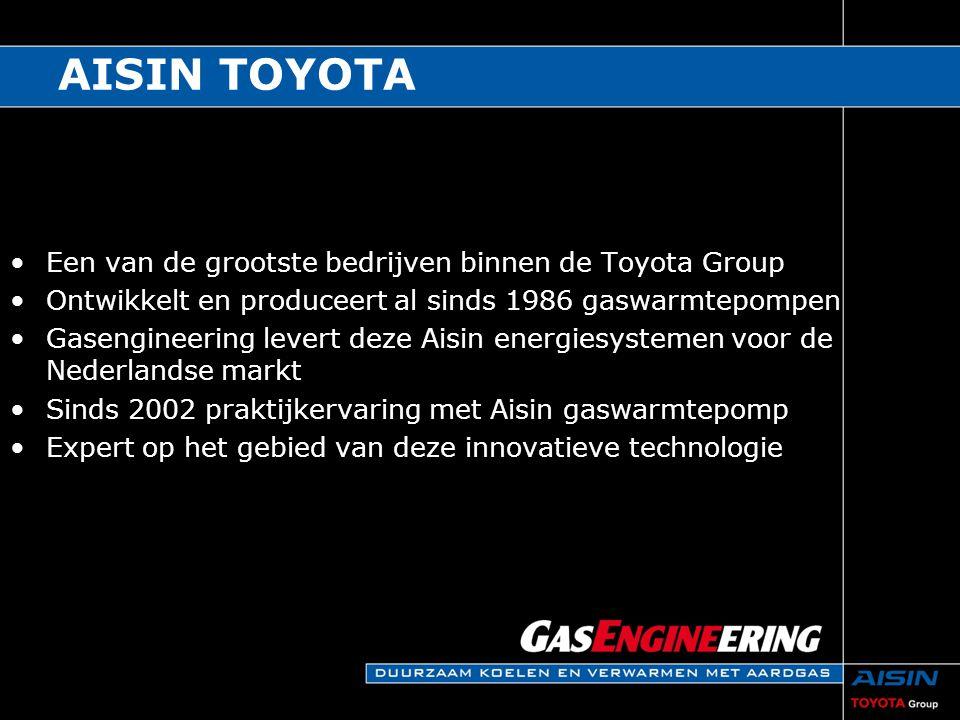 AISIN TOYOTA Een van de grootste bedrijven binnen de Toyota Group Ontwikkelt en produceert al sinds 1986 gaswarmtepompen Gasengineering levert deze Ai