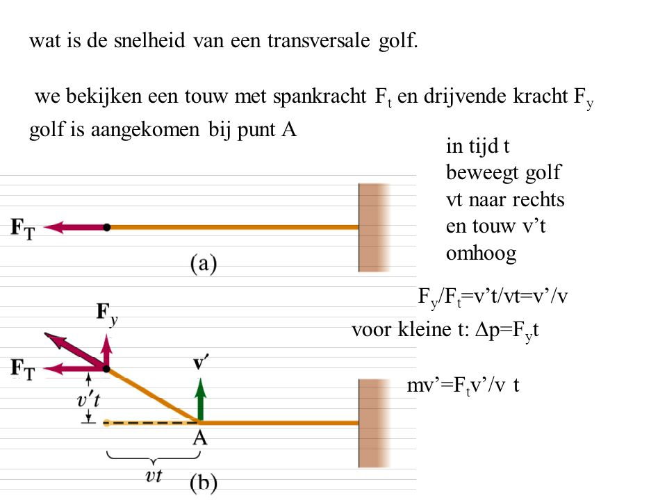 wat is de snelheid van een transversale golf. we bekijken een touw met spankracht F t en drijvende kracht F y golf is aangekomen bij punt A in tijd t