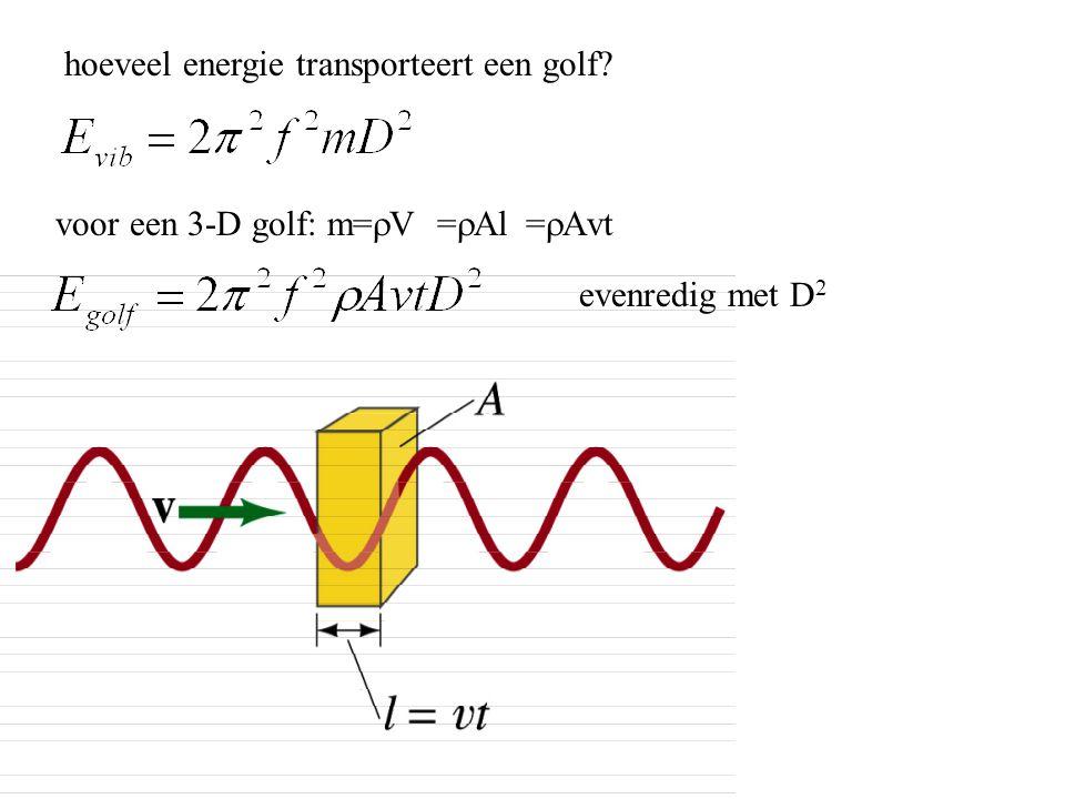 hoeveel energie transporteert een golf? voor een 3-D golf: m=  V=  l=  vt evenredig met D 2