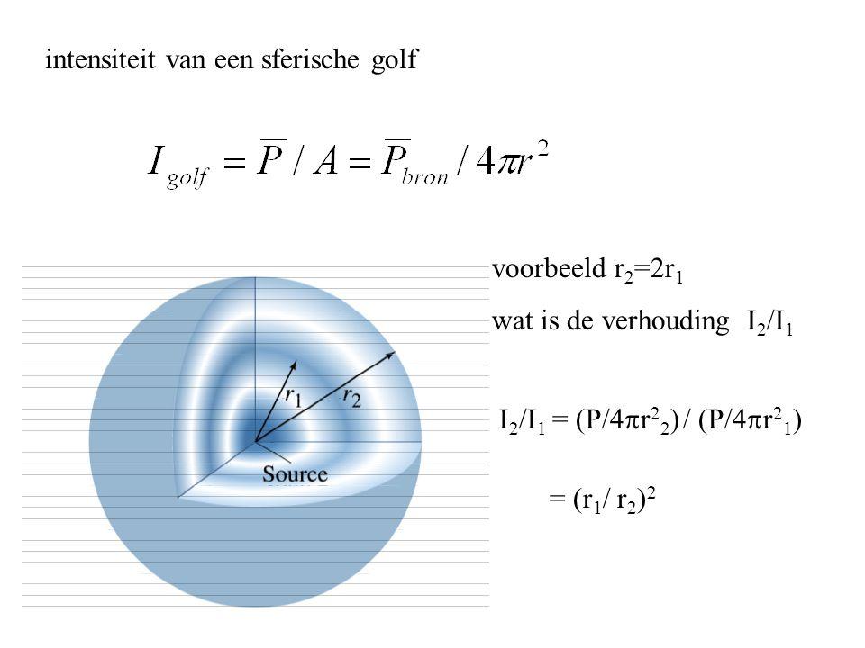 intensiteit van een sferische golf voorbeeld r 2 =2r 1 wat is de verhouding I 2 /I 1 I 2 /I 1 = (P/4  r 2 2 ) / (P/4  r 2 1 ) = (r 1 / r 2 ) 2