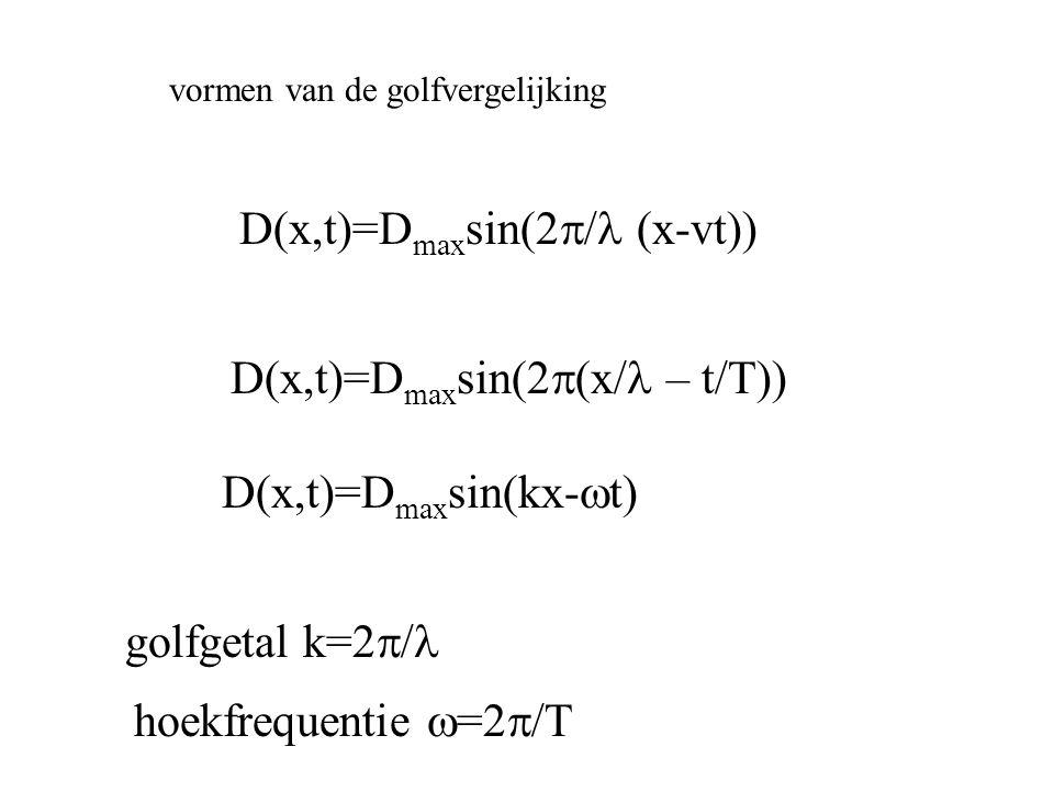 vormen van de golfvergelijking D(x,t)=D max sin(2  (x/  – t/T)) D(x,t)=D max sin(kx-  t) golfgetal k=2  hoekfrequentie  =2 