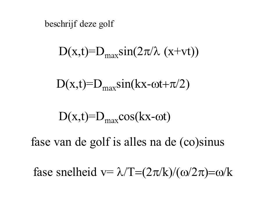 D(x,t)=D max sin(2  x+vt)) beschrijf deze golf D(x,t)=D max sin(kx-  t  fase van de golf is alles na de (co)sinus fase snelheid v=  k