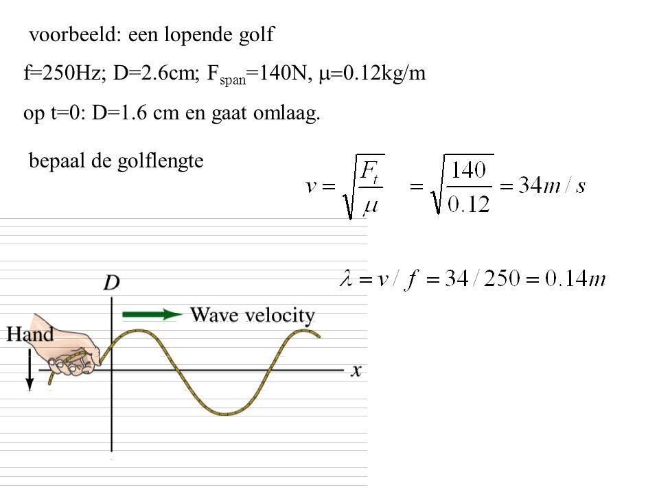 voorbeeld: een lopende golf f=250Hz; D=2.6cm; F span =140N,  kg/m op t=0: D=1.6 cm en gaat omlaag. bepaal de golflengte