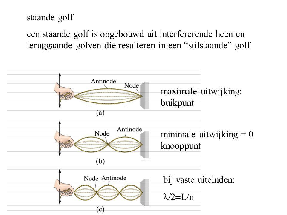 """staande golf een staande golf is opgebouwd uit interfererende heen en teruggaande golven die resulteren in een """"stilstaande"""" golf maximale uitwijking:"""