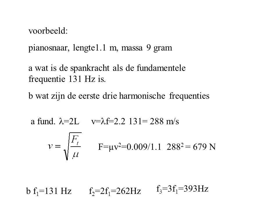 voorbeeld: pianosnaar, lengte1.1 m, massa 9 gram a wat is de spankracht als de fundamentele frequentie 131 Hz is. b wat zijn de eerste drie harmonisch