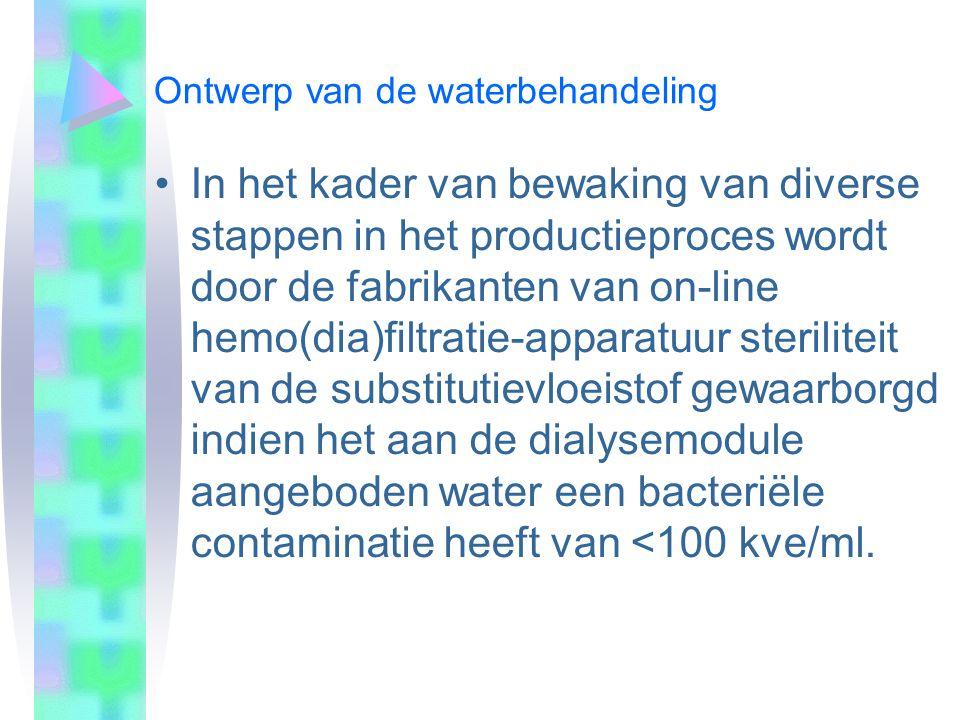 Ontwerp van de waterbehandeling In het kader van bewaking van diverse stappen in het productieproces wordt door de fabrikanten van on-line hemo(dia)fi