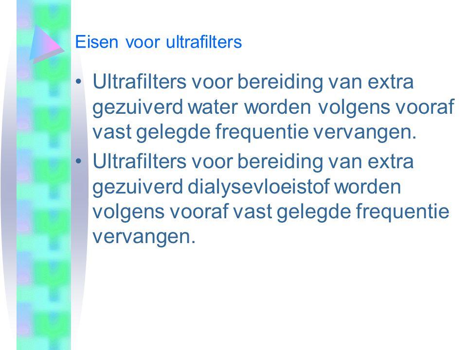 Ultrafilters voor bereiding van extra gezuiverd water worden volgens vooraf vast gelegde frequentie vervangen. Ultrafilters voor bereiding van extra g