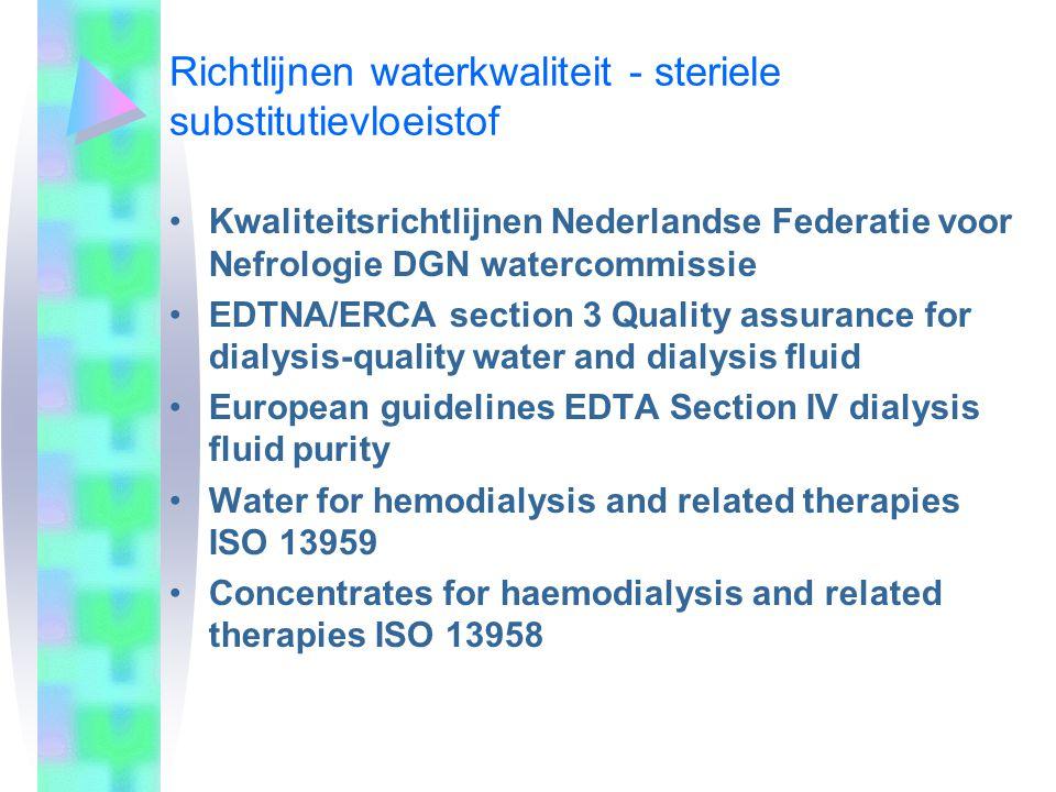 Ontwerp van de waterbehandeling In het kader van bewaking van diverse stappen in het productieproces wordt door de fabrikanten van on-line hemo(dia)filtratie-apparatuur steriliteit van de substitutievloeistof gewaarborgd indien het aan de dialysemodule aangeboden water een bacteriële contaminatie heeft van <100 kve/ml.