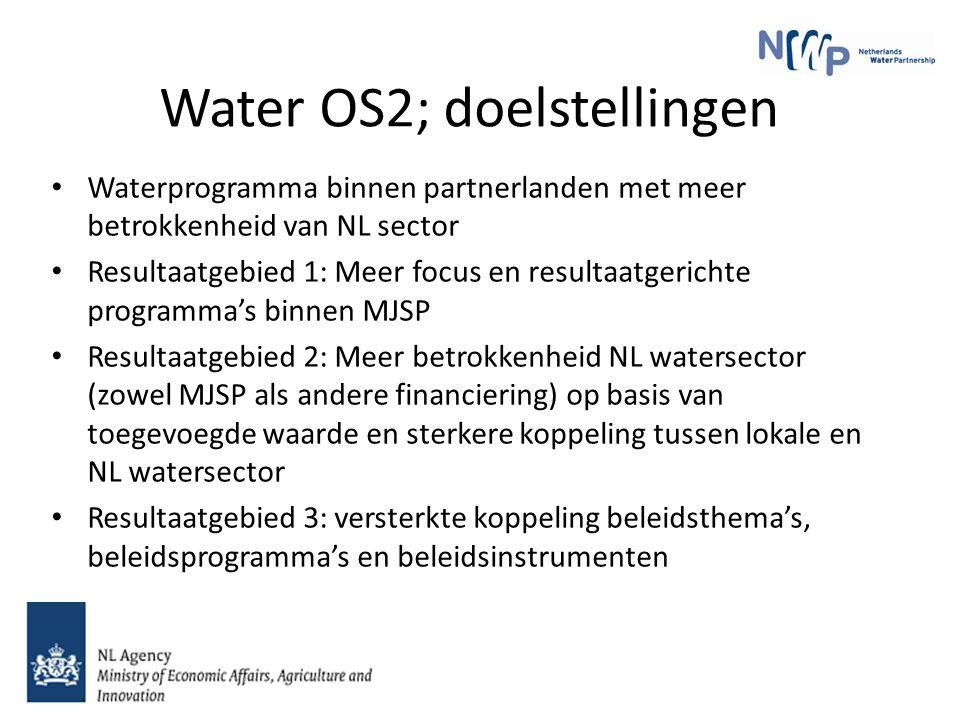 Water OS2; doelstellingen Waterprogramma binnen partnerlanden met meer betrokkenheid van NL sector Resultaatgebied 1: Meer focus en resultaatgerichte programma's binnen MJSP Resultaatgebied 2: Meer betrokkenheid NL watersector (zowel MJSP als andere financiering) op basis van toegevoegde waarde en sterkere koppeling tussen lokale en NL watersector Resultaatgebied 3: versterkte koppeling beleidsthema's, beleidsprogramma's en beleidsinstrumenten