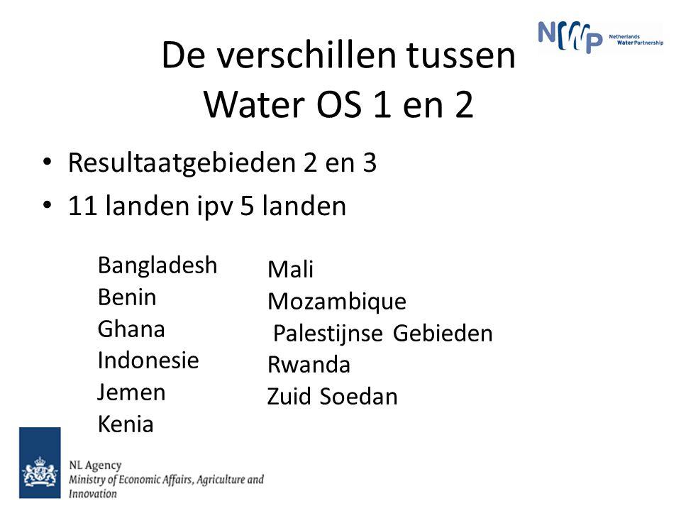 De verschillen tussen Water OS 1 en 2 Resultaatgebieden 2 en 3 11 landen ipv 5 landen Mali Mozambique Palestijnse Gebieden Rwanda Zuid Soedan Bangladesh Benin Ghana Indonesie Jemen Kenia